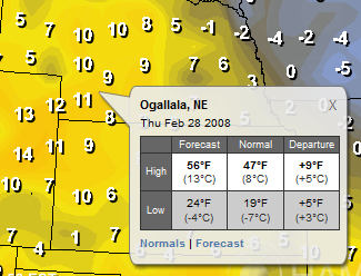 Forecast Departure Tool Tip Example
