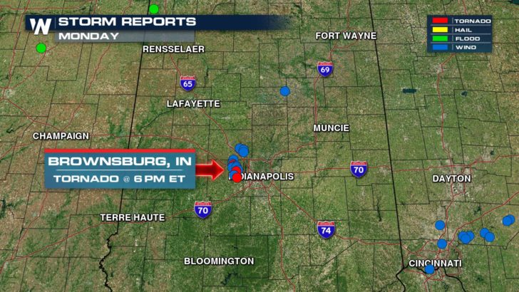 Likely Tornado Causes Damage in Indiana