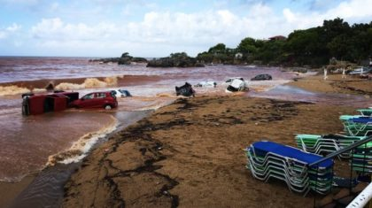 Cars Washed Ashore in Greece After Drifting to Sea During Flash Flood