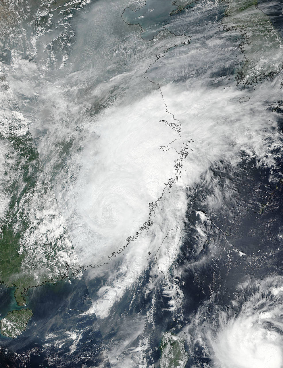 On Sept. 15 at 12:35 a.m. EDT (04:35 UTC) NASA-NOAA's Suomi NPP satellite captured an image of Tropical Storm Meranti as it was making landfall in southeastern China. (Credits: NASA Goddard MODIS Rapid Response/NOAA)