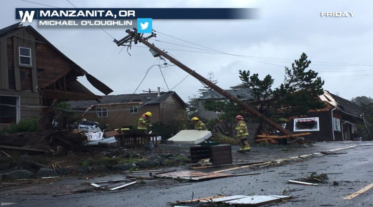 WATCH: Waterspout Comes Ashore and Destroys Buildings in Manzanita on Oregon Coast
