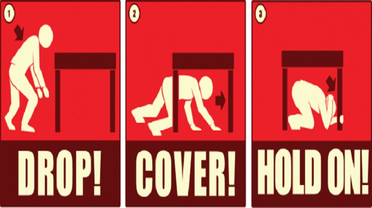 Drop! Cover! Hold On! Earthquake Drill Today