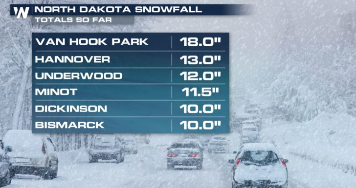 Heavy Snow Continues from the Dakotas Into the Mountains