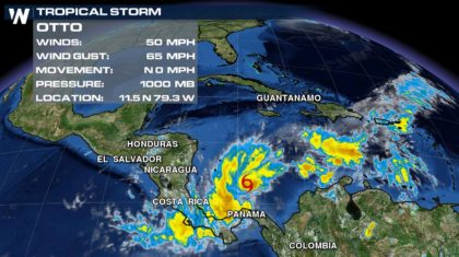 Tropical Storm Otto Forms in the Western Caribbean Sea