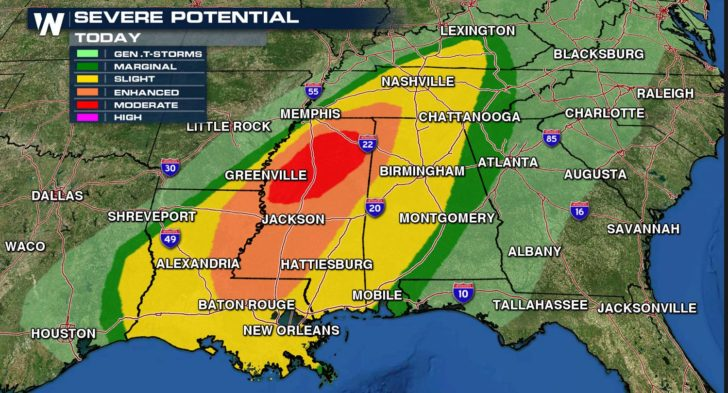 Severe Weather Threat Continues for the Deep South