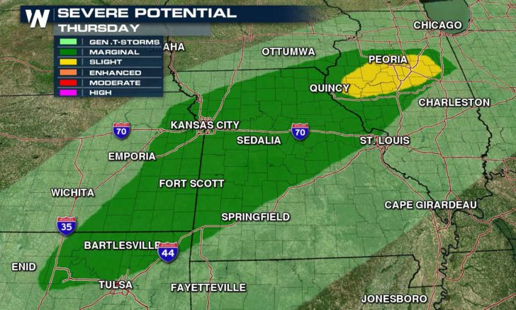 Isolated Severe Weather Risk From Illinois to Texas