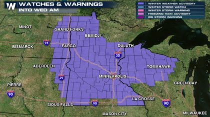 Snow and a Wintry Mix in the Upper Midwest