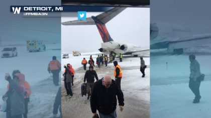 Delta Airplane Slides off Runway at Snowy Detroit Airport
