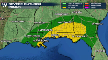Severe Weather Risk This Afternoon Along the Gulf Coast