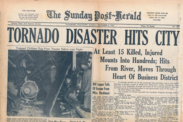 On This Day in 1953, Deadly Tornado Strikes Vicksburg