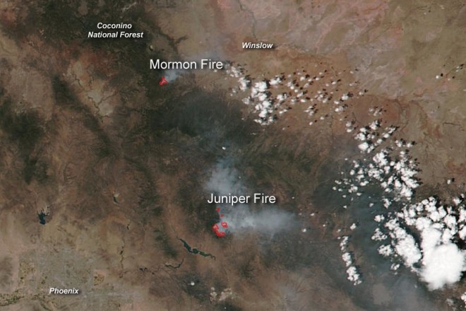 Viewed From Space: Wildfires in Arizona Still Burning
