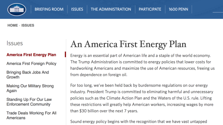 With a Click of the Mouse the White House Climate Page Was Changed to This: