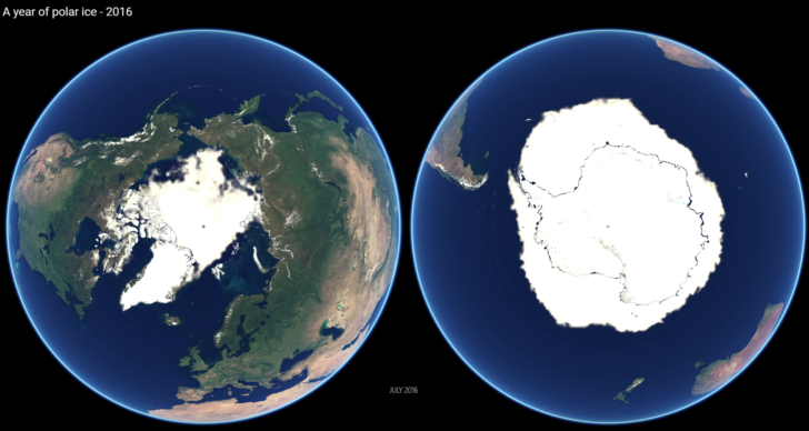 Animation Shows Year of Polar Ice Changes