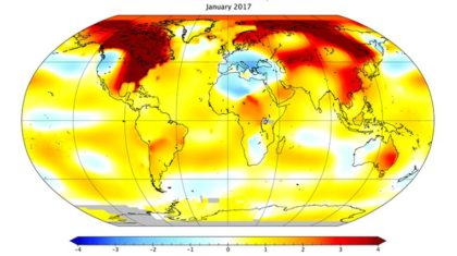 January Was the Third Warmest January on Record for the Globe