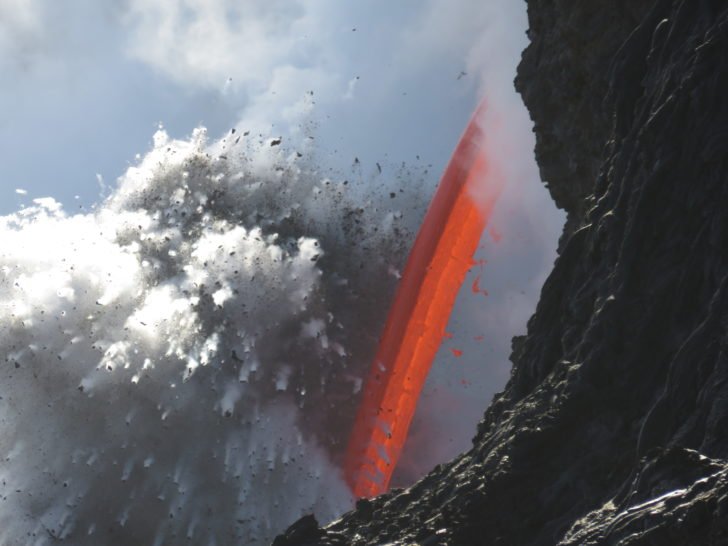 Firehose of Lava Flows From Kilauea Volcano into Sea