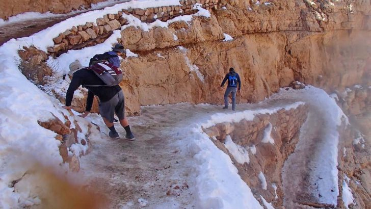 The First Steps a Doozie! Icy Conditions at Grand Canyon National Park
