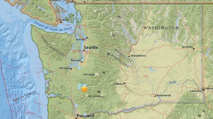 Minor Earthquake North of Mount St. Helens Tuesday Afternoon