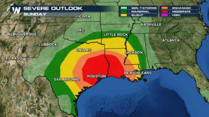 Life-Threatening Storms to Impact South on Sunday