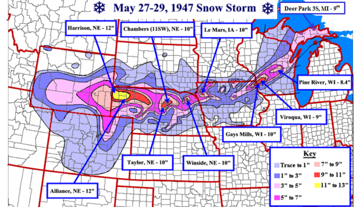70th Anniversary of Late Season Midwest Snow Storm