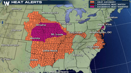 Excessive Heat Continues into the Weekend from the Plains to the East