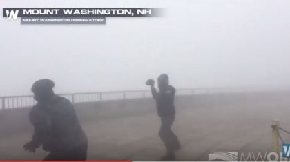 Ready for football season? The Crew on Top of Mt. Washington Prepares for Football Season in 85 mph Winds