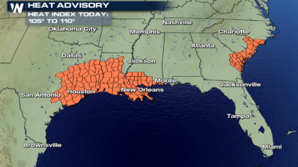 High Heat and Humidity Today in the South and Southeast