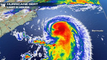 Hurricane Gert Strengthening in Atlantic