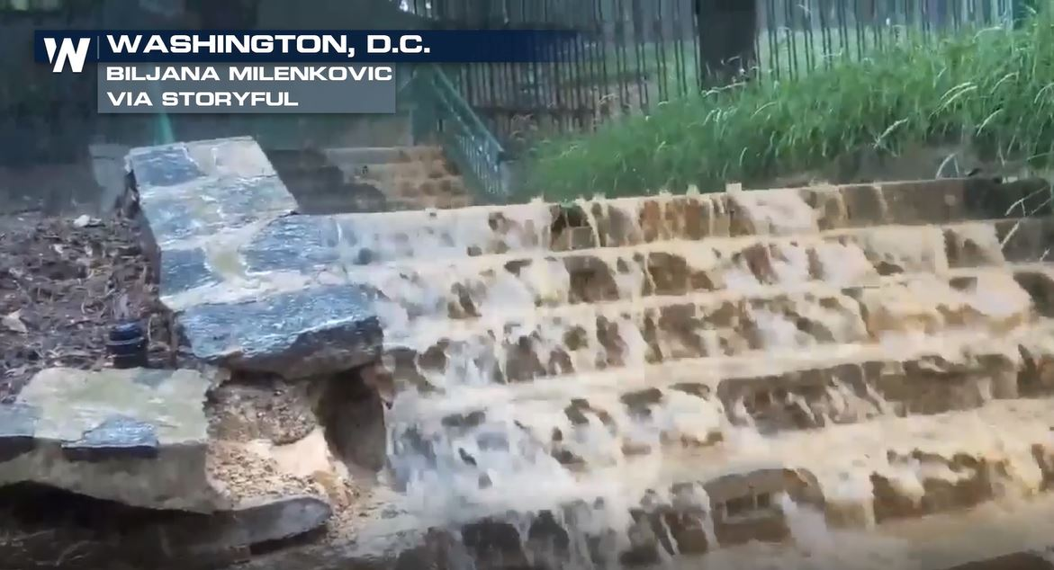 Heavy Rain Causes Flash Flooding in Washington, D.C.