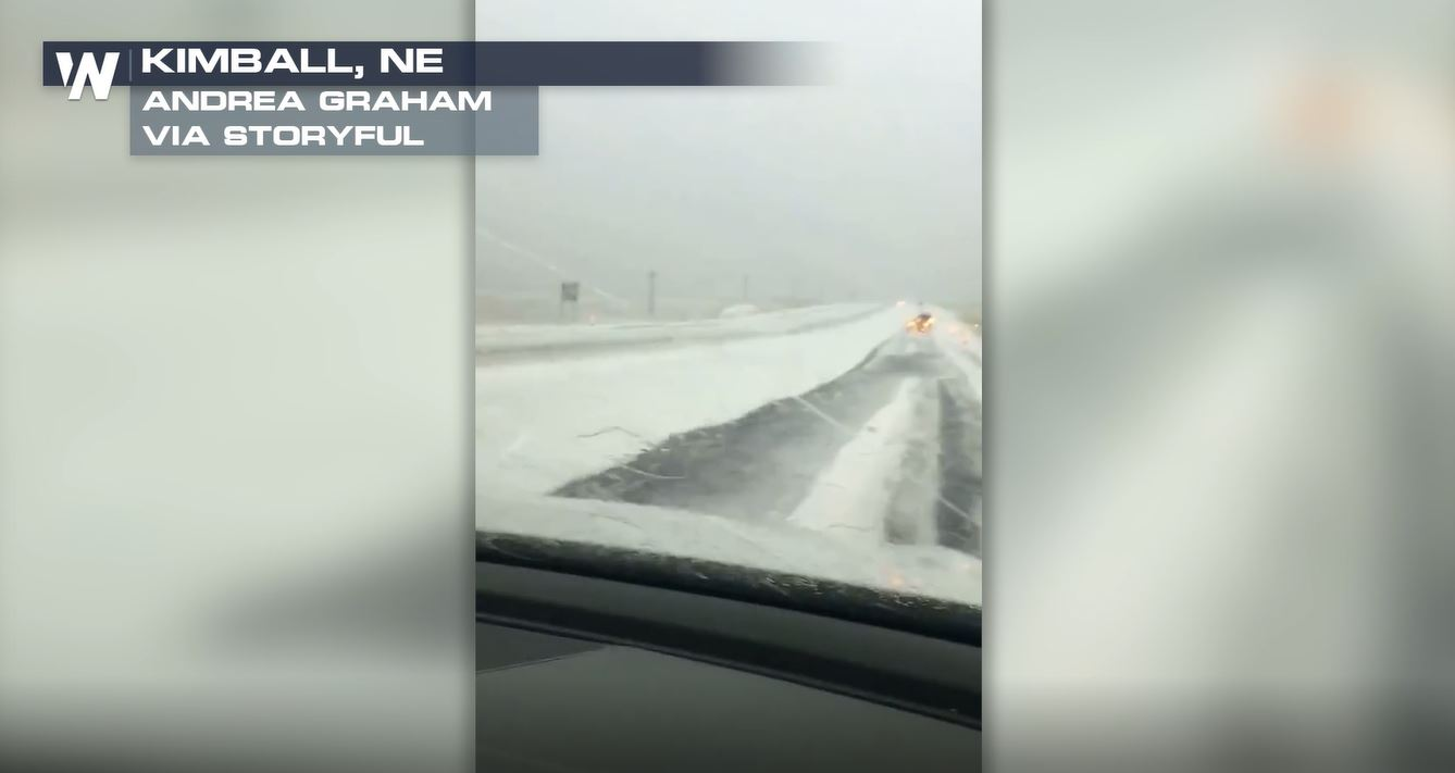 Large Hail Covers Road After Nebraska Storms