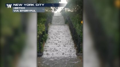 Flooding Creates Mini Waterfall in New York City