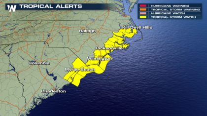 Tropical Storm Watch Issued for North and South Carolina