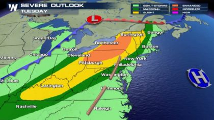 Severe Weather Expected Tuesday in Northeast, Ohio Valley