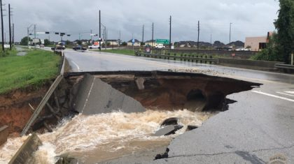 Sinkhole Appears in Road Near Rosenberg, Texas
