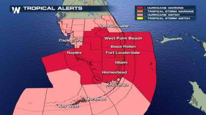 Hurricane, Storm Surge Warning Issued for South Florida