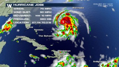 Jose Strengthens to a Hurricane East of Florida