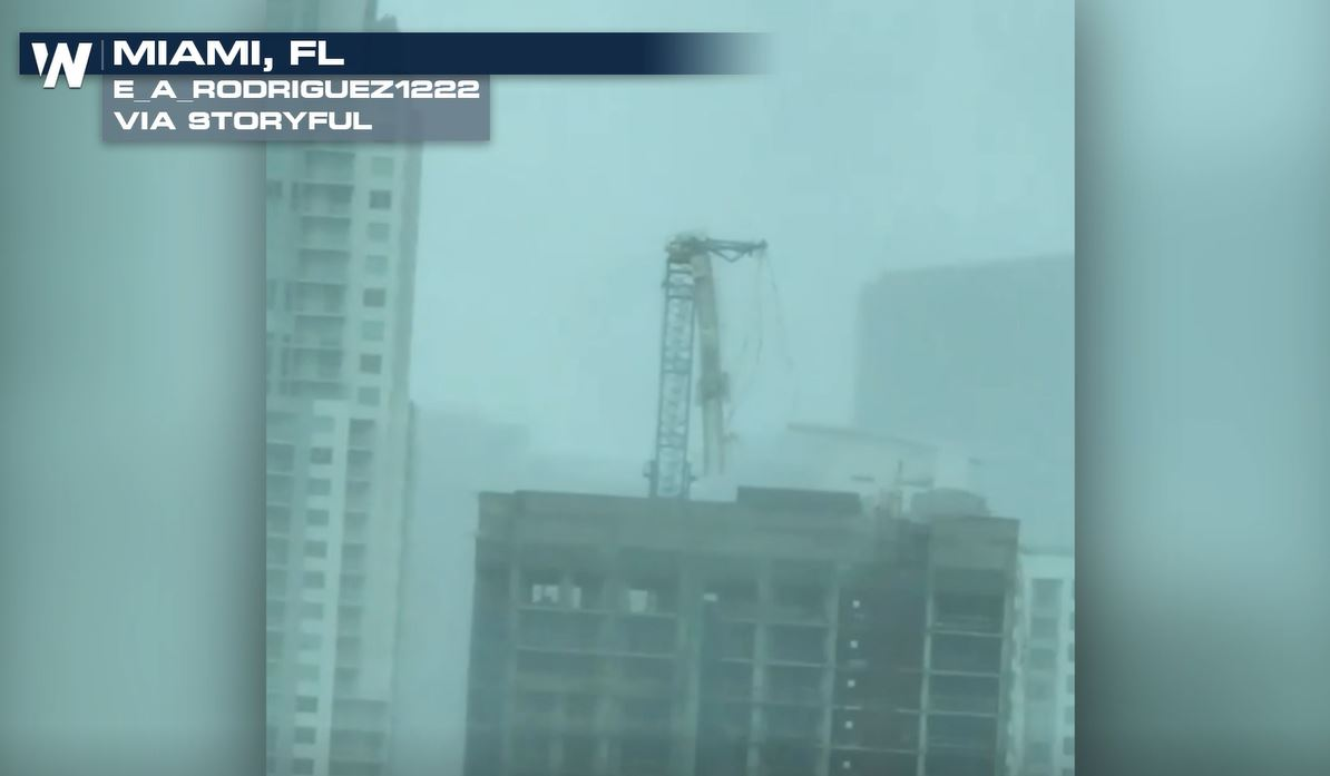 Hurricane Irma Winds Snap Crane Boom in Downtown Miami