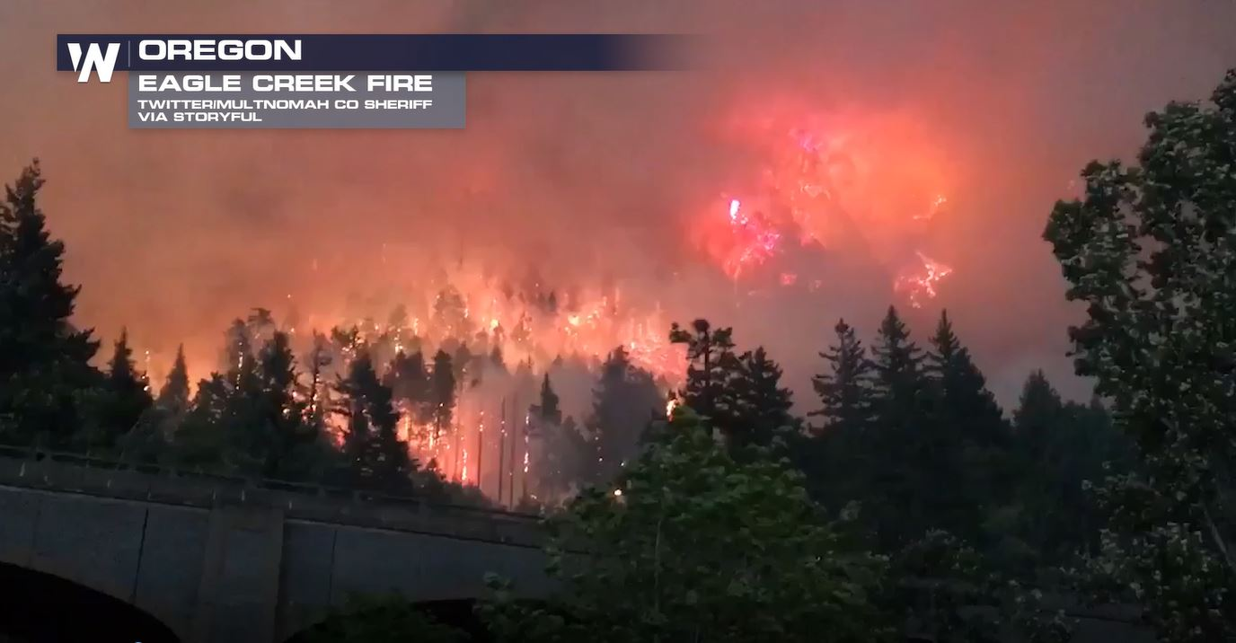This Monday Photo Provided By Katu Tv Shows The Eagle Creek Wildfire As Seen From Stevenson Wash Across Columbia River Fire Is Burning In