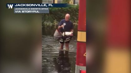 Jacksonville Firefighter Rescues Baby During Irma Flooding