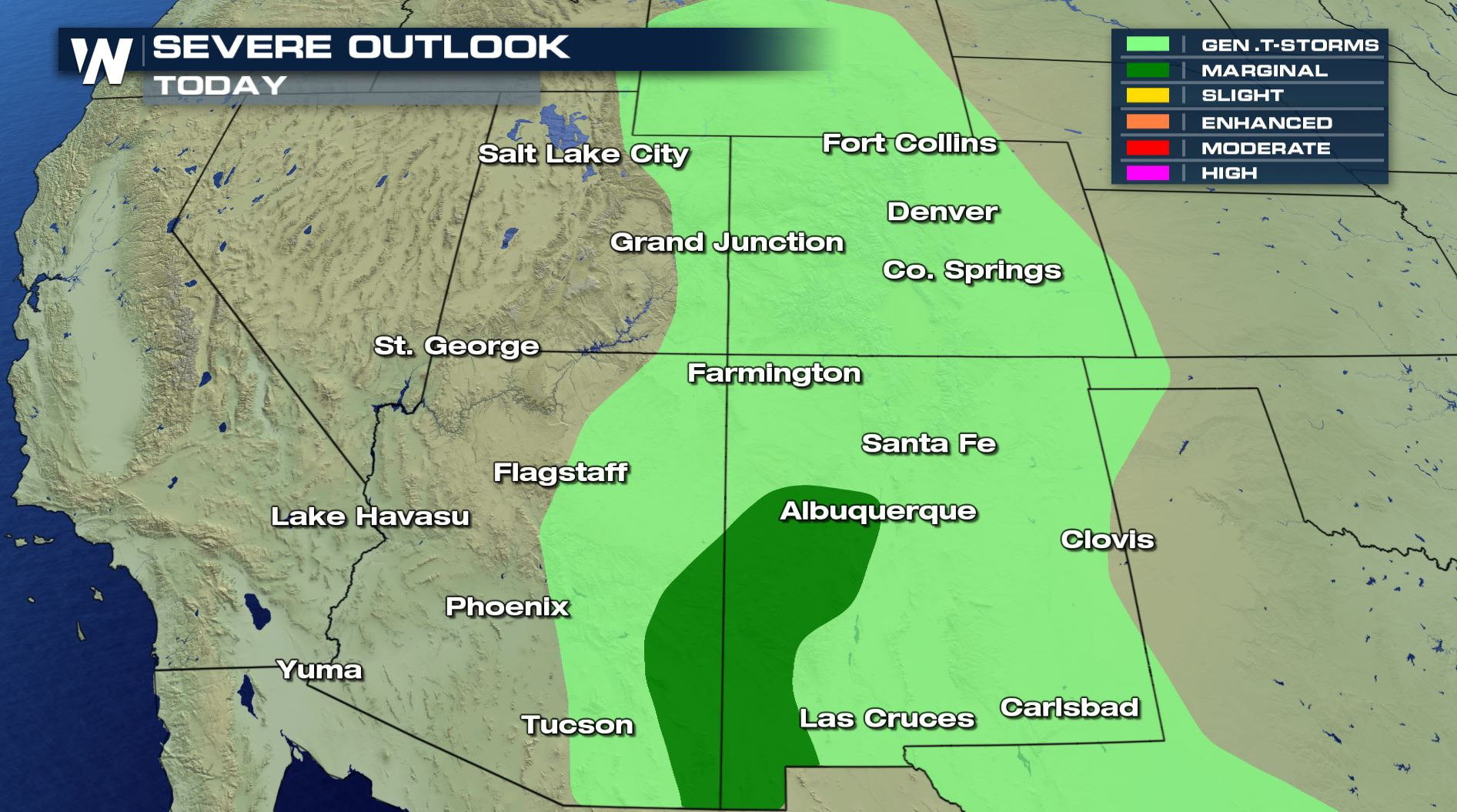 Thunderstorms for The Southwest and Southern Rockies Friday