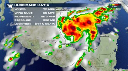 Katia Strengthens to Category 1 Hurricane