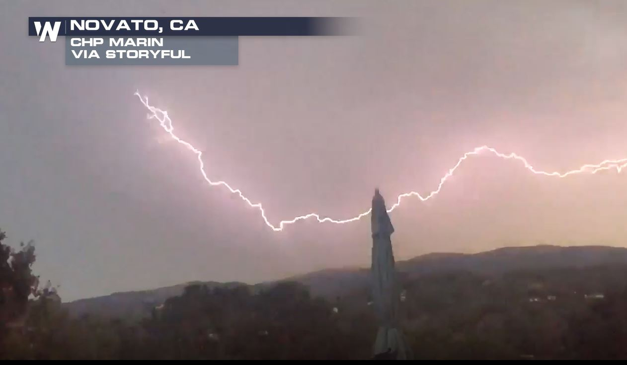 Colossal Lightning Strike Illuminates Sky Over Novato, California