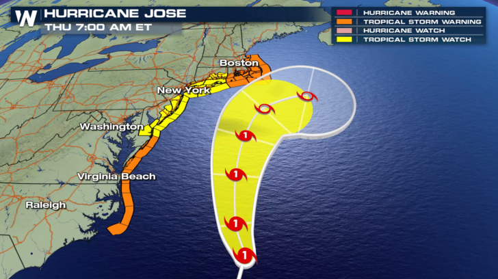 Tropical Storm Warnings in the Northeast with Hurricane Jose