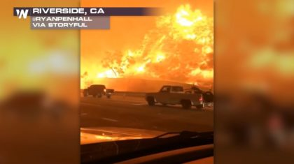 Canyon Fire Burns Dangerously Close to Traffic Along California Freeway