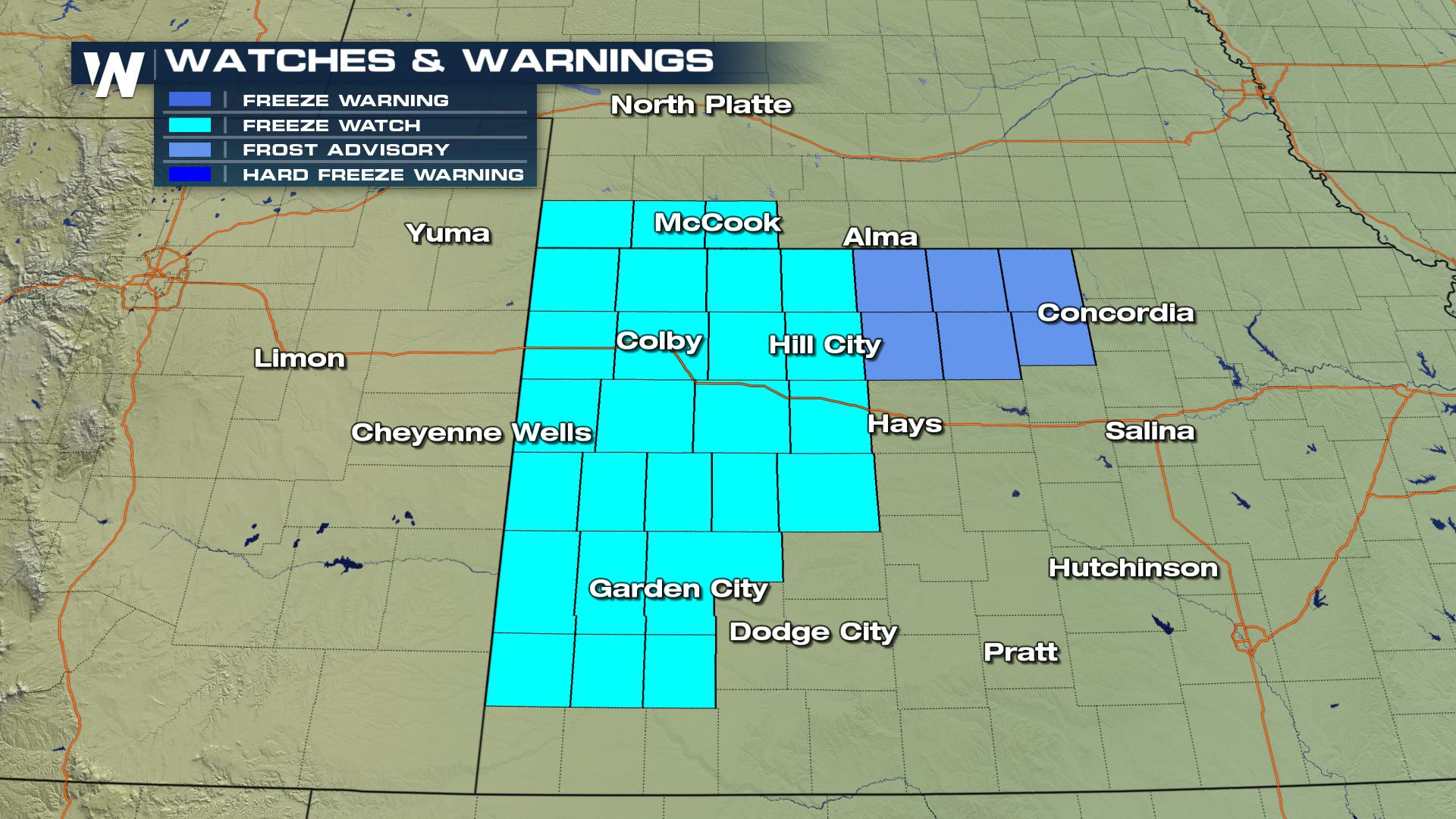 Frost and Freeze Concerns for Nebraska, Kansas Saturday Night