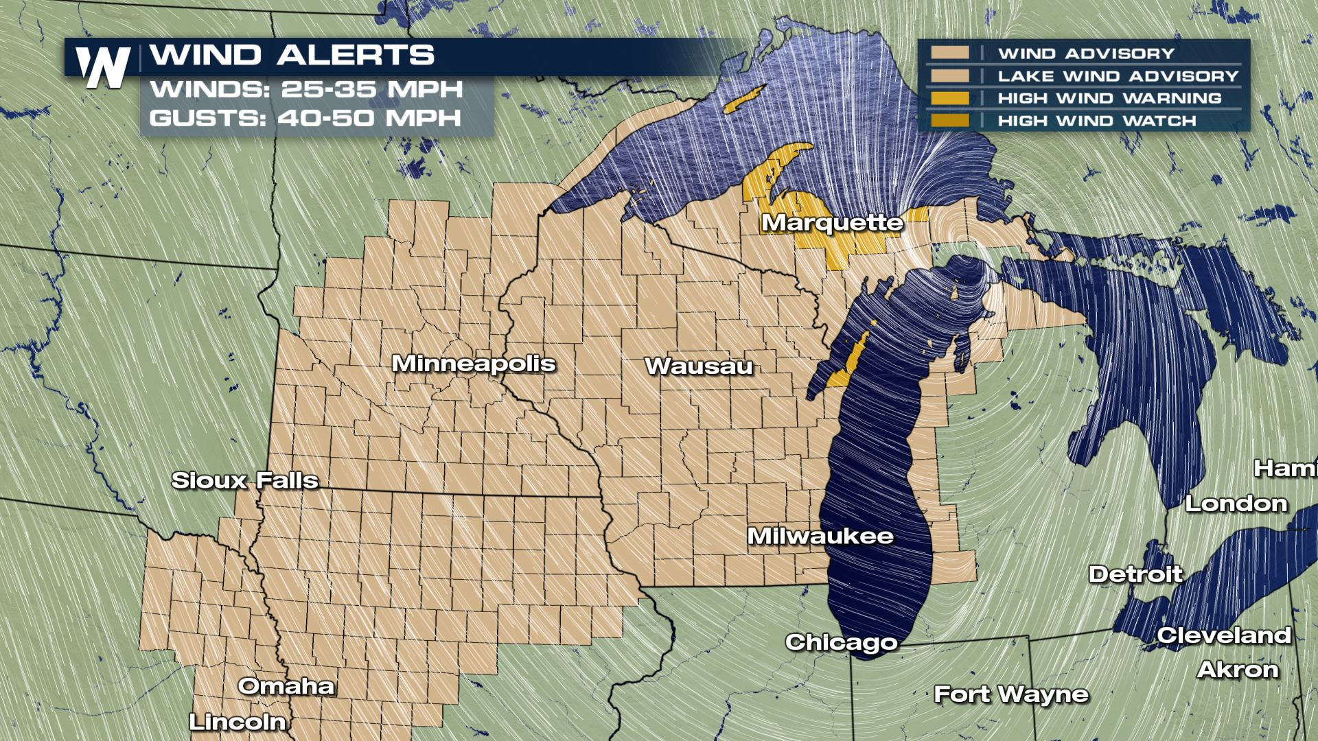 Strong Winds and Large Waves for the Great Lakes WeatherNation