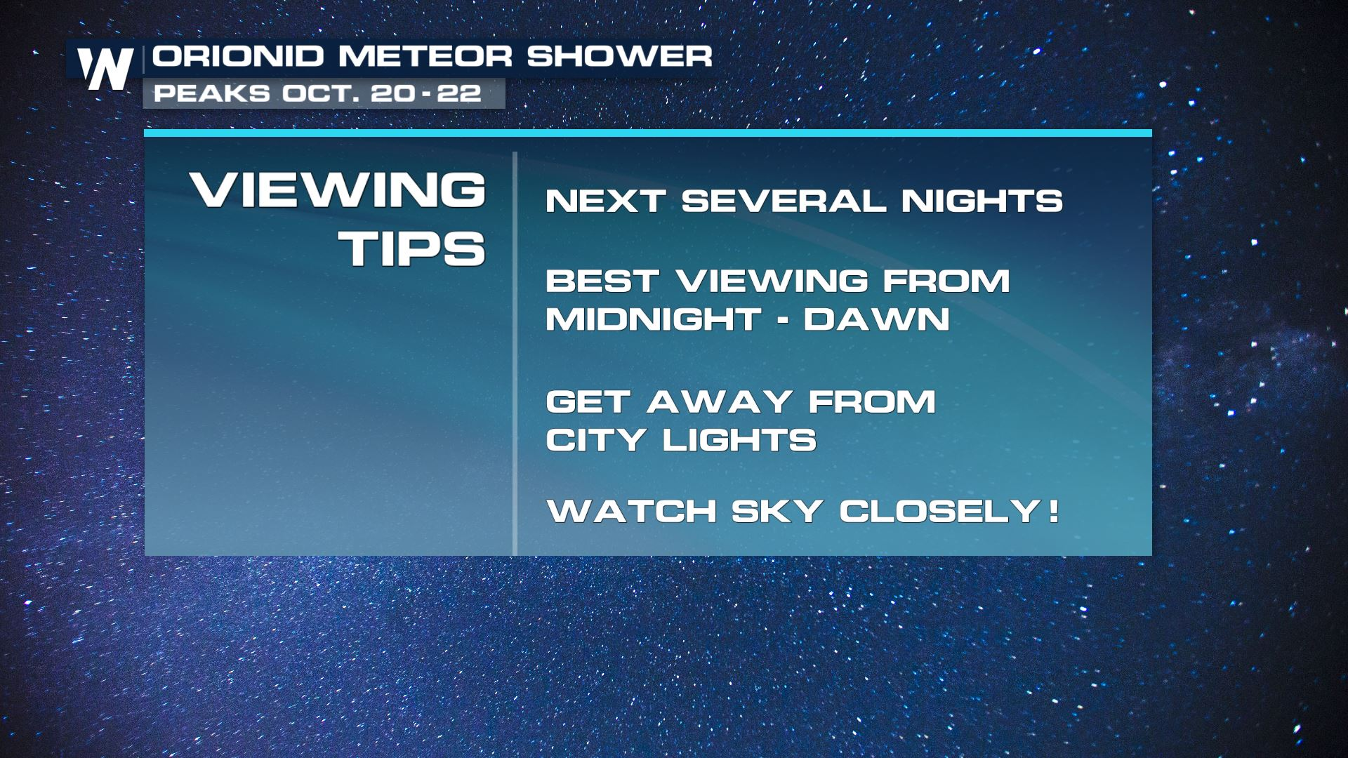 Look up! Catch The Orionid Meteor Shower Right Now