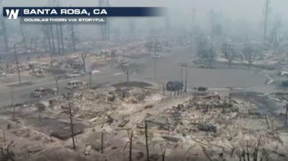 Aerial View of Santa Rosa, CA Neighborhood Burned by Wildfires
