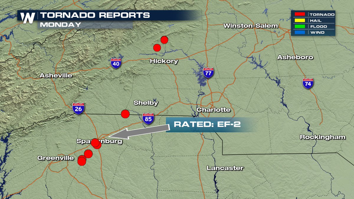 NWS Says EF-2 Tornado Touched Down in Spartanburg, South Carolina