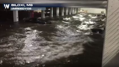 VIDEO: Storm Surge Creates Major Flooding in Biloxi Parking Garage