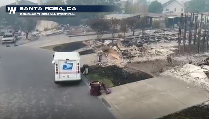 Drone Video Shows Postal Worker Delivering Mail to Burned CA Homes
